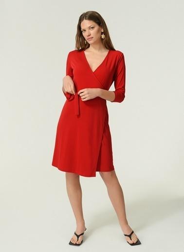 NGSTYLE Kadın Örme Kruvaze  Elbise NGKAW20EL0033 Kırmızı